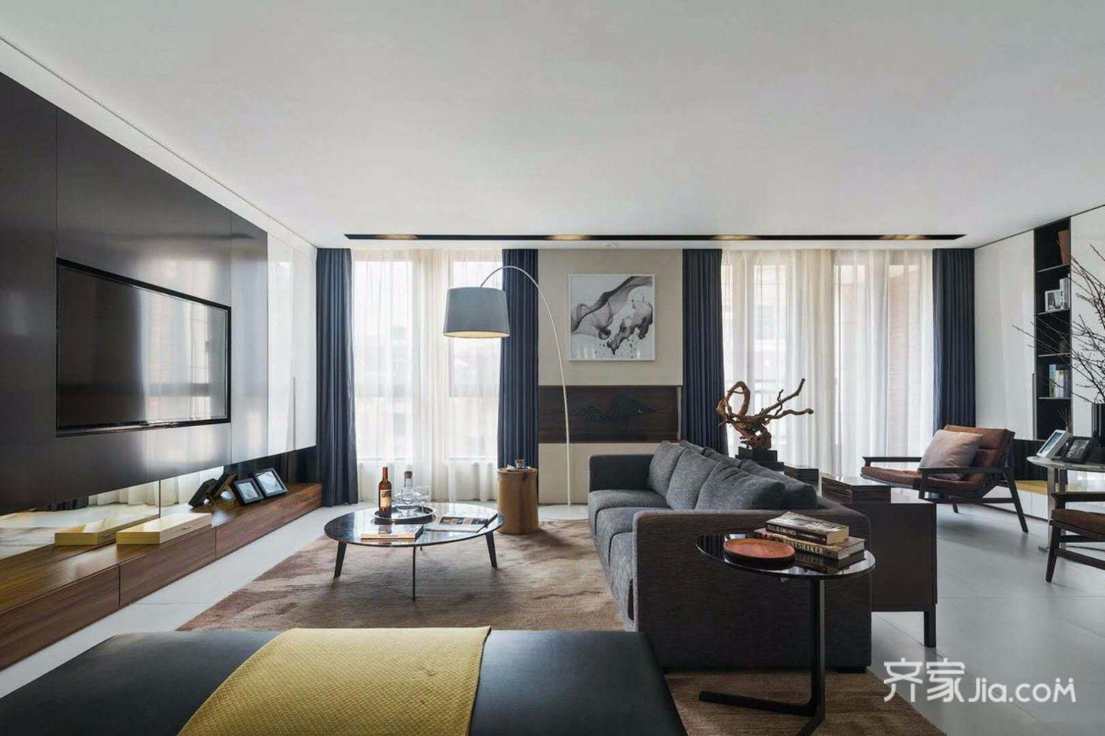 现代简约风格大户型客厅装修设计图
