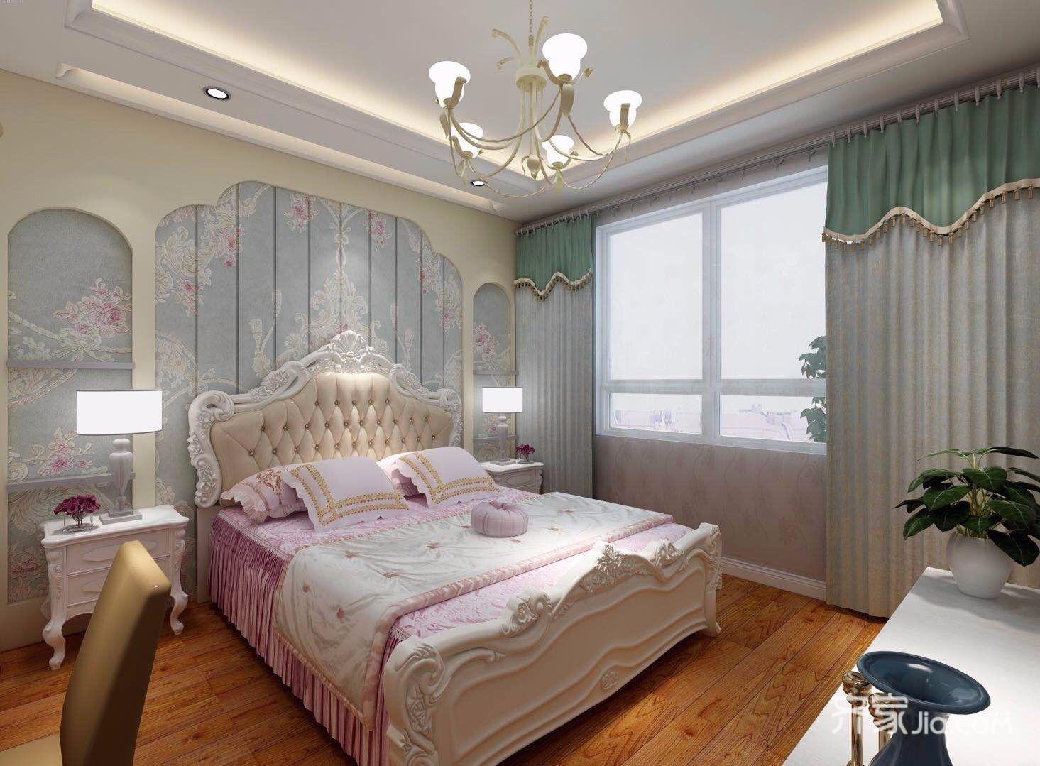 85㎡简欧风两居卧室装修效果图