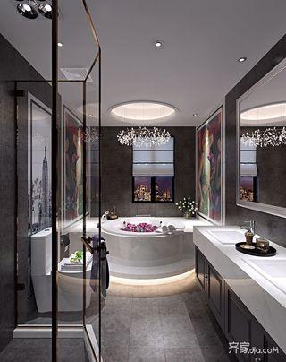 现代混搭风格别墅卫生间装修效果图