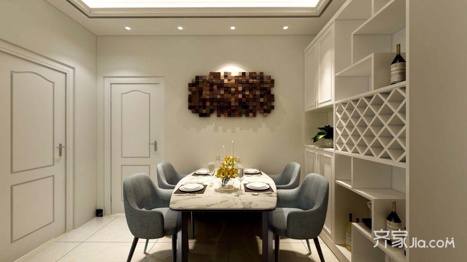 88平混搭风格二居餐厅背景墙装修设计图