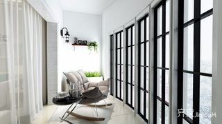88平混搭风格二居阳台装修效果图
