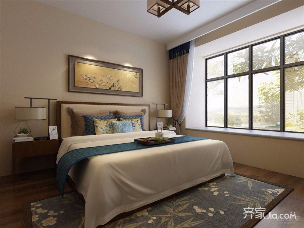 86平中式风格两居卧室装修效果图