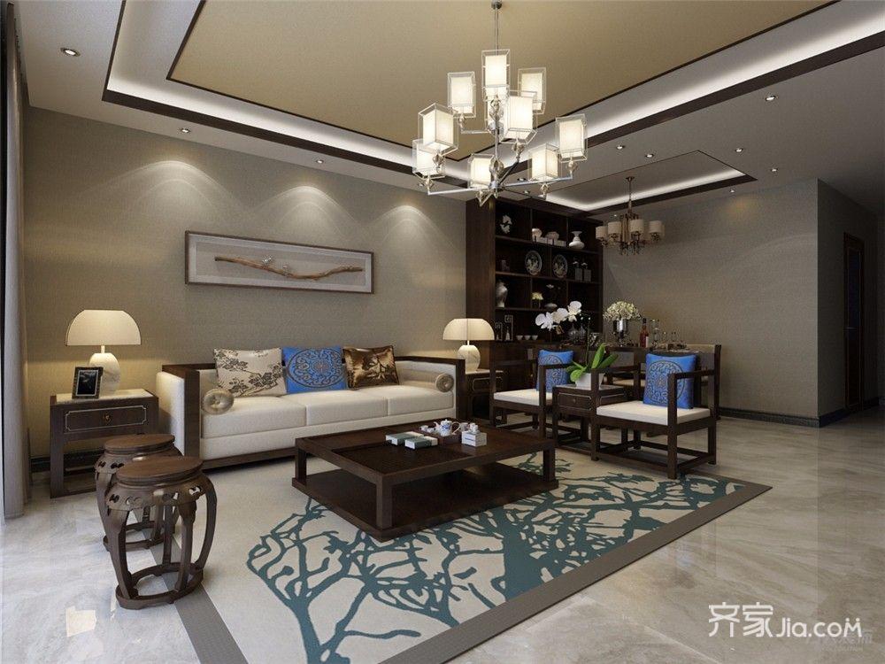 86平中式风格两居沙发背景墙装修效果图