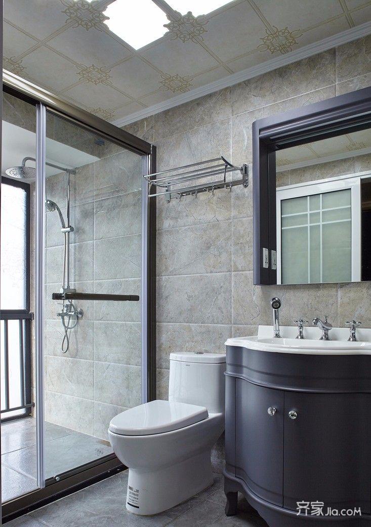 140平混搭风格三居卫生间装修效果图