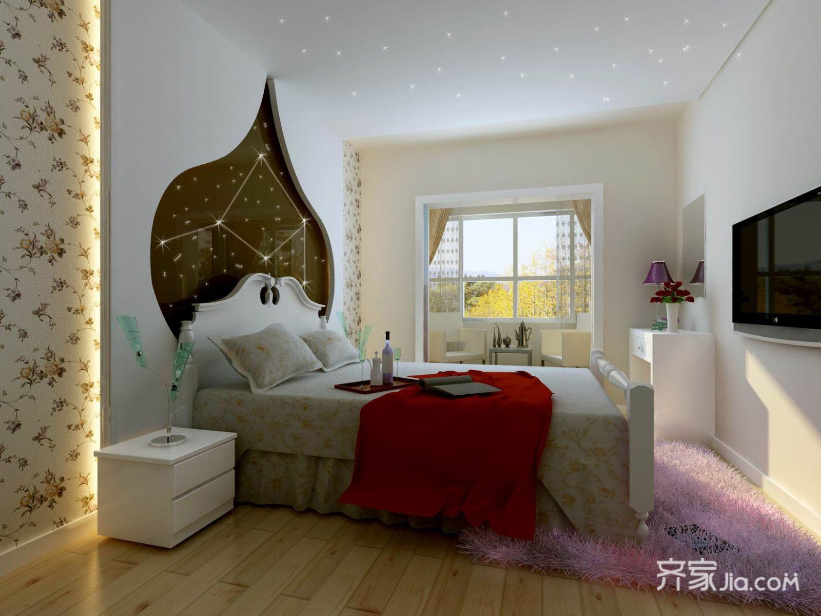 90平简约风格两居卧室装修效果图