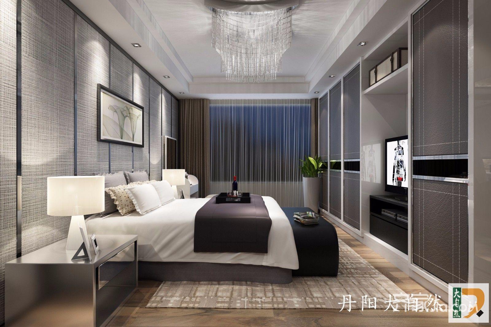 高级灰现代简约风卧室装修效果图