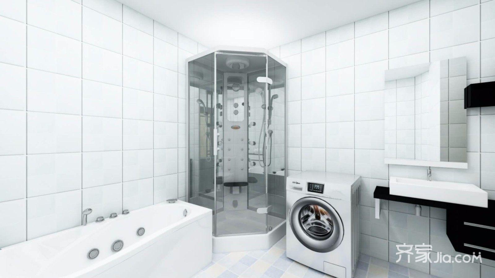 150㎡现代简约三居卫生间装修效果图