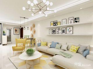 现代北欧混搭三居室沙发背景墙装修效果图