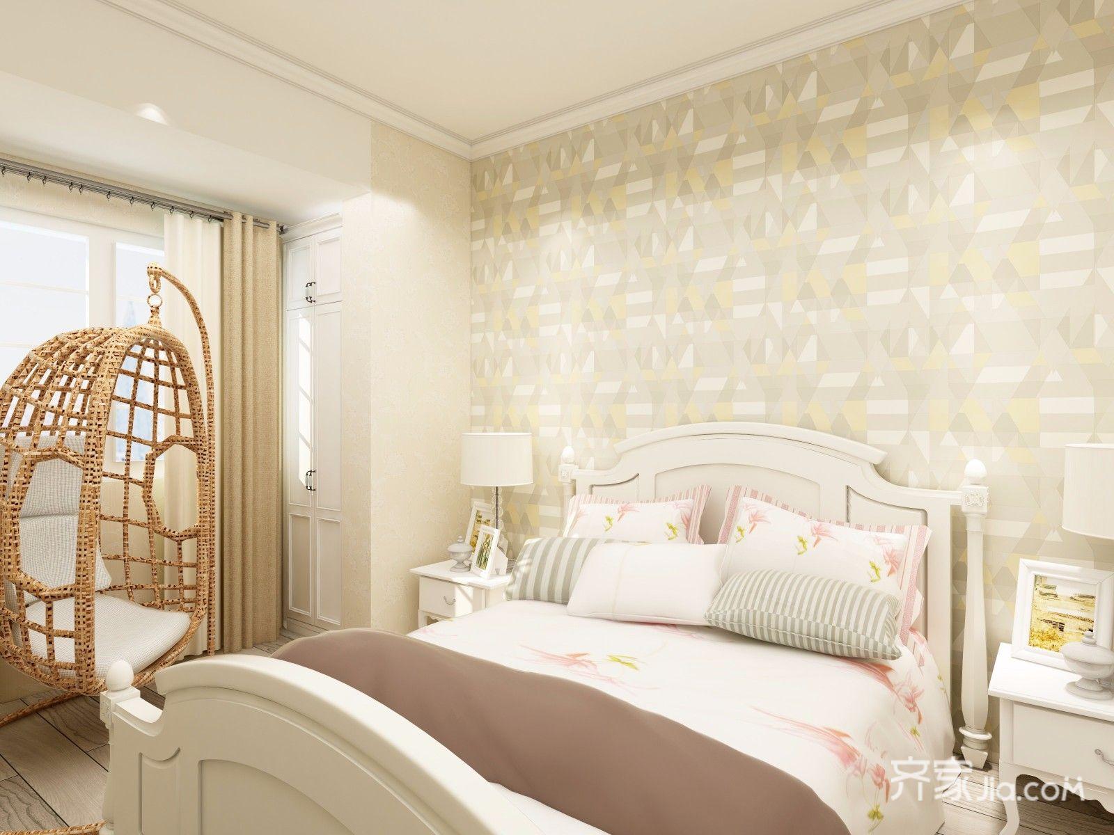 现代北欧混搭三居装修卧室效果图