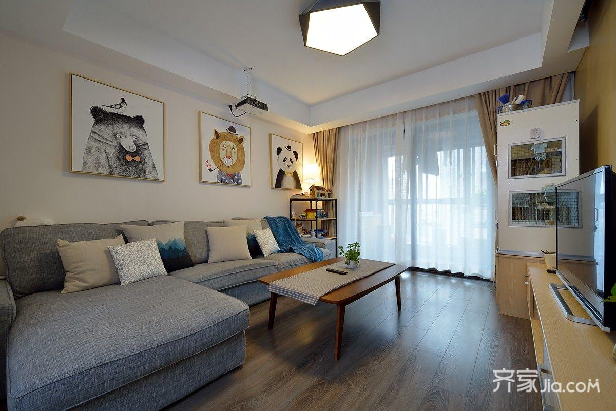 简约风格两居室客厅装修搭配图
