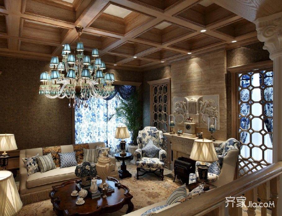 美式复古别墅客厅装修效果图