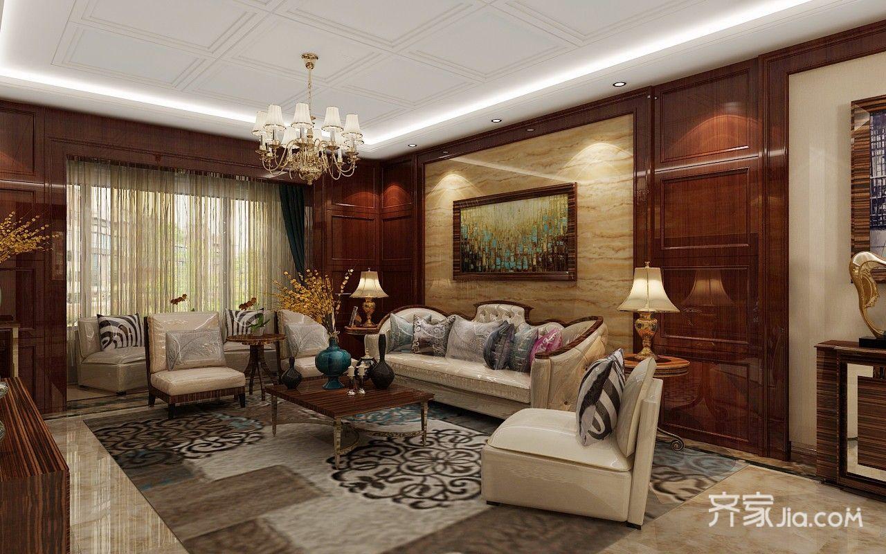 120㎡欧式风格二居客厅装修效果图