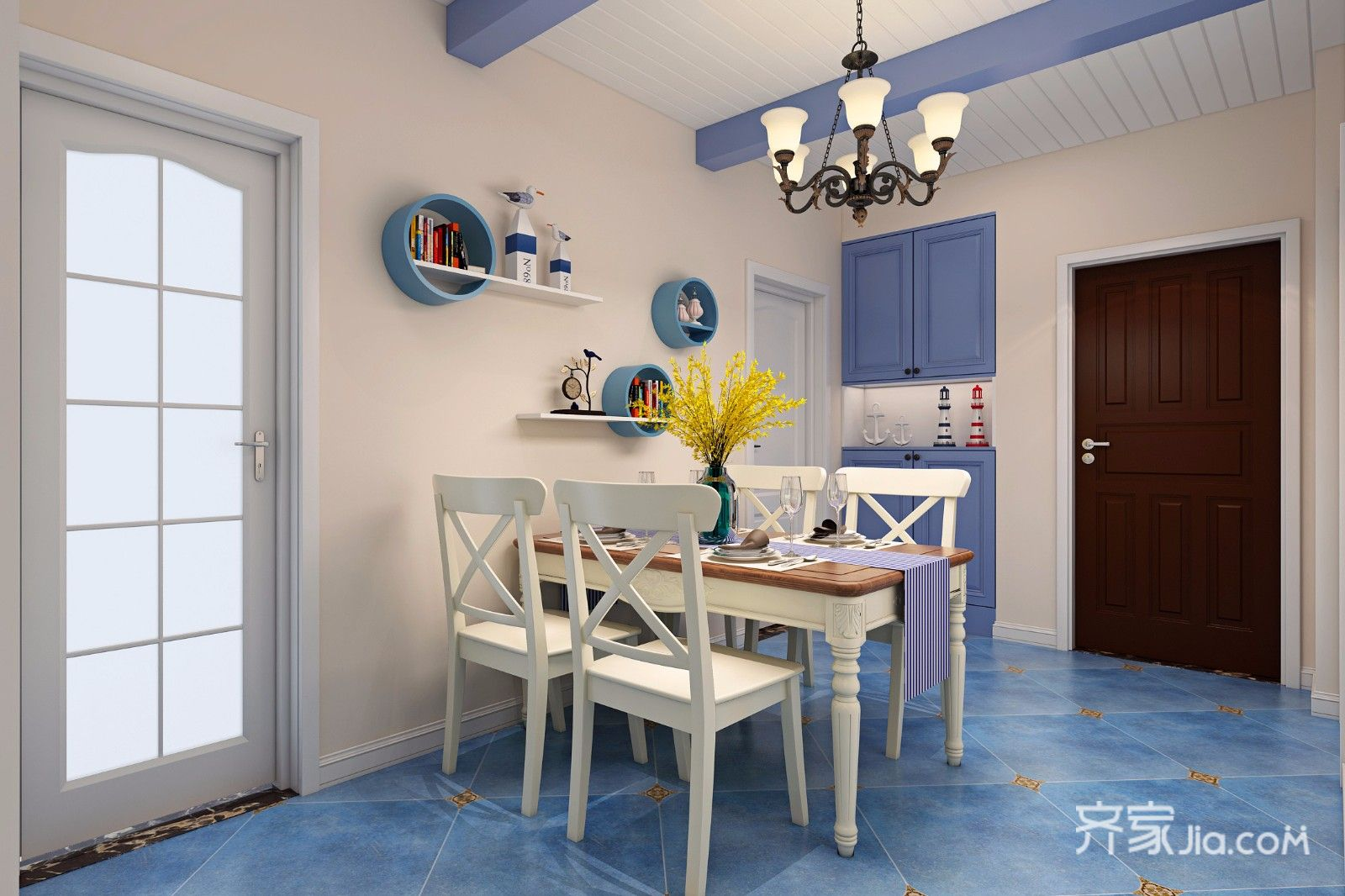78平地中海风格二居餐厅装修效果图
