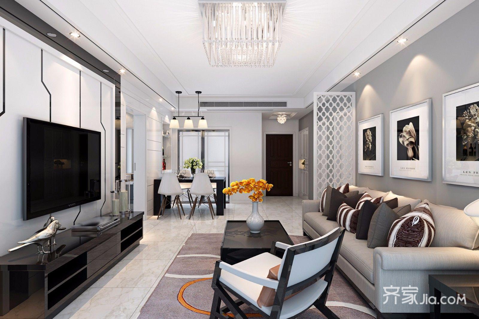 118平现代风三居客厅装修效果图