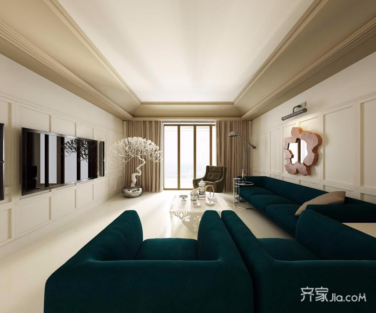 120㎡混搭风格三居客厅装修效果图
