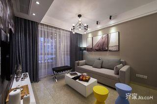89平现代简约风三居沙发背景墙装修效果图