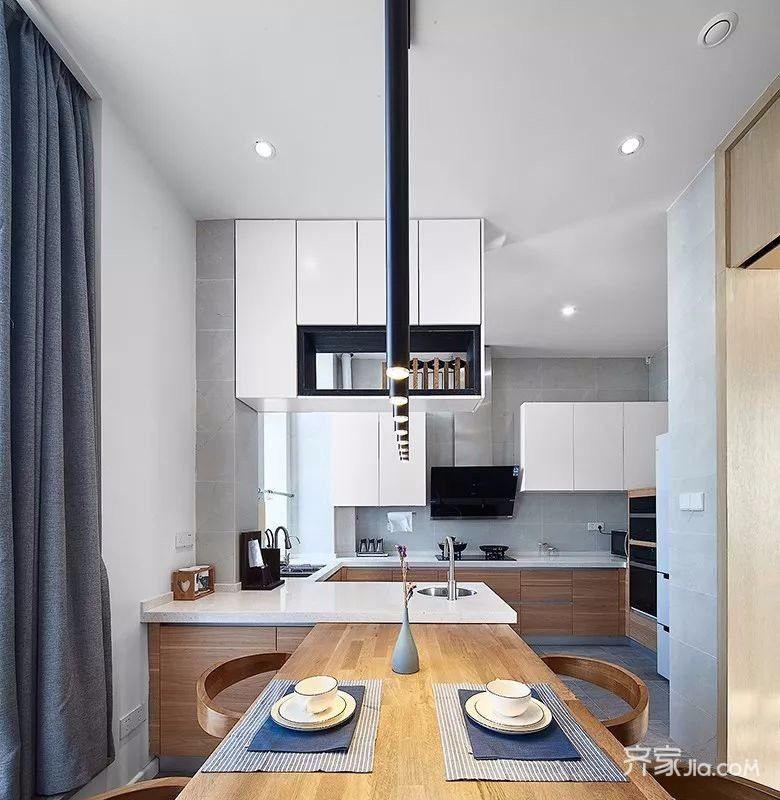 简约复式公寓厨餐厅装修设计效果图