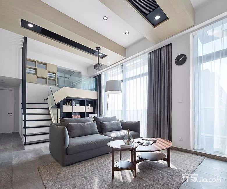 简约复式公寓客厅装修设计效果图