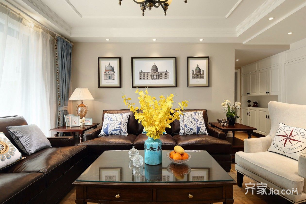 105㎡美式风格三居客厅装修效果图
