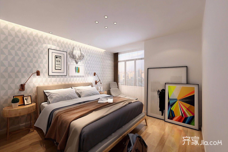 95平米简约三居卧室装修效果图