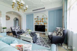 135㎡美式风格三居装修客厅吊顶效果图
