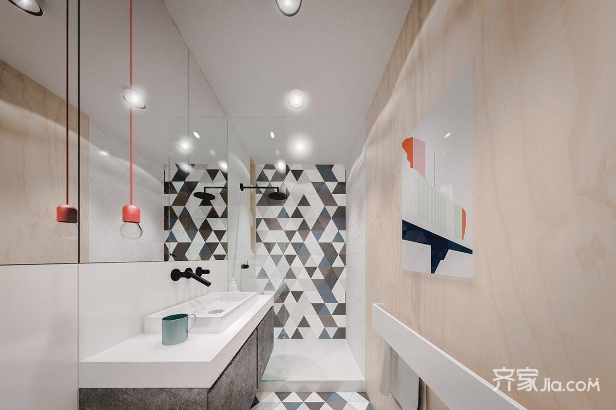 一居室北欧风公寓卫生间装修效果图