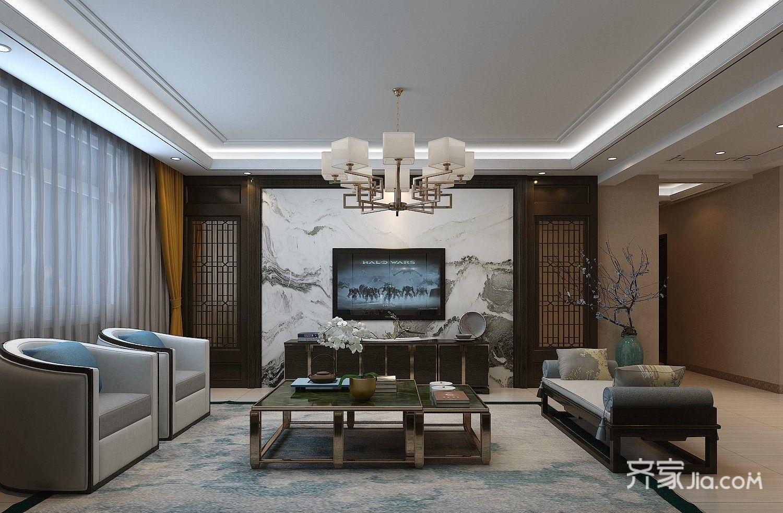 135平新中式三居客厅装修效果图