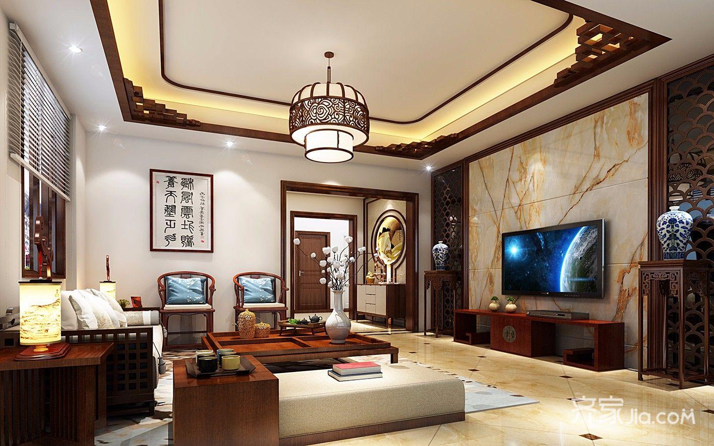 大户型中式风别墅客厅装修效果图