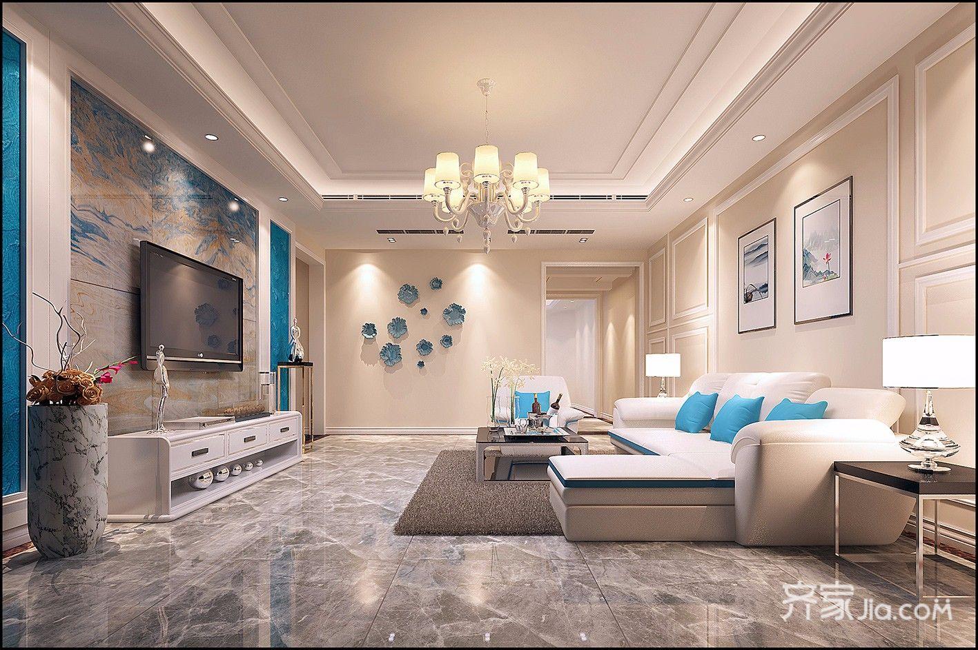 大户型现代风格三居客厅装修效果图