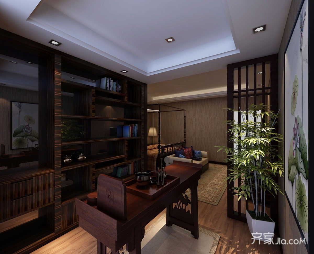 中式风格四居室书房装修效果图