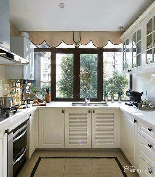 大户型现代风格三居装修厨房构造图