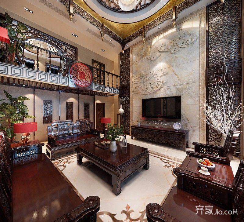 奢华中式风格别墅电视背景墙装修效果图