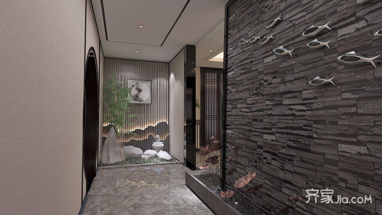 350平米中式别墅玄关装修效果图