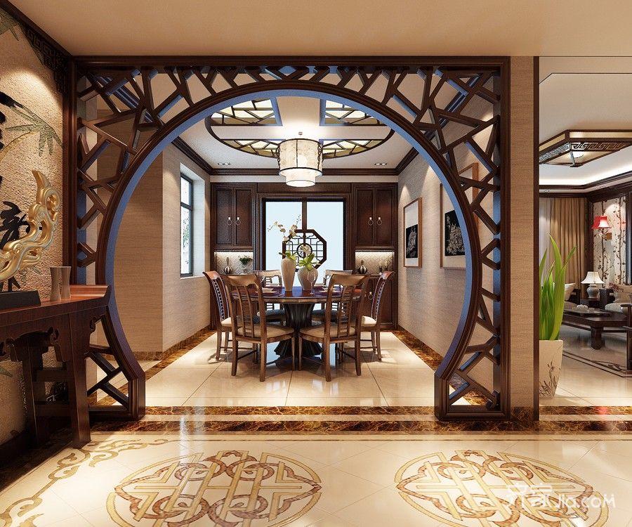 140㎡中式风格三居餐厅装修效果图