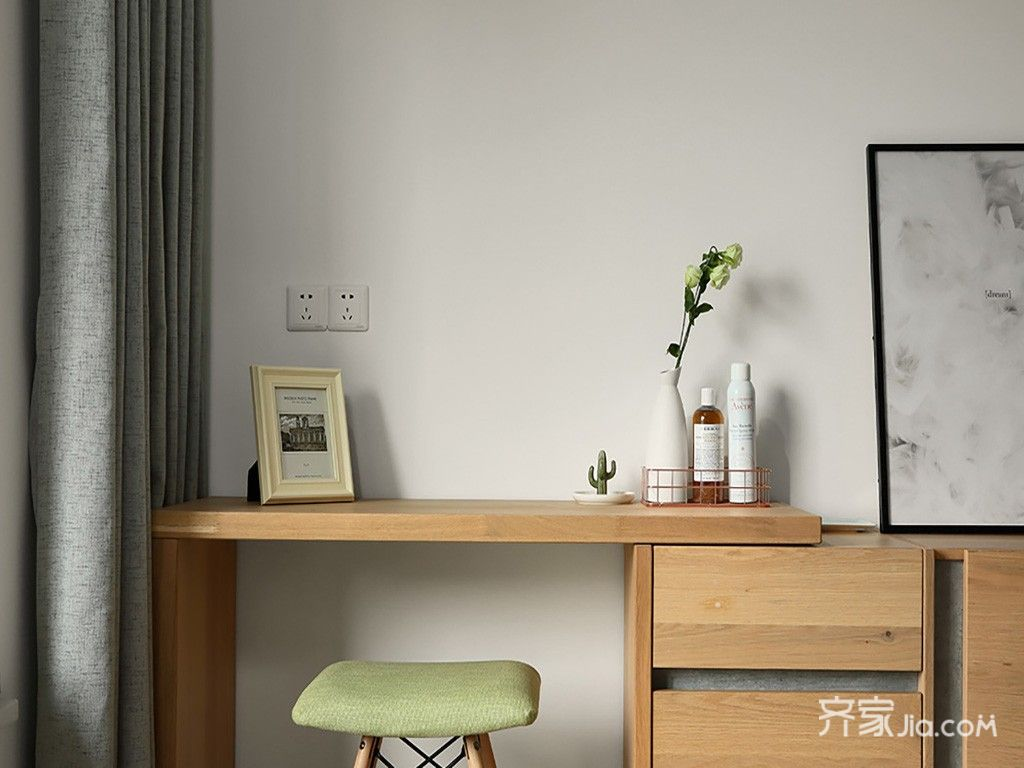 130平北欧风三居装修书桌设计图