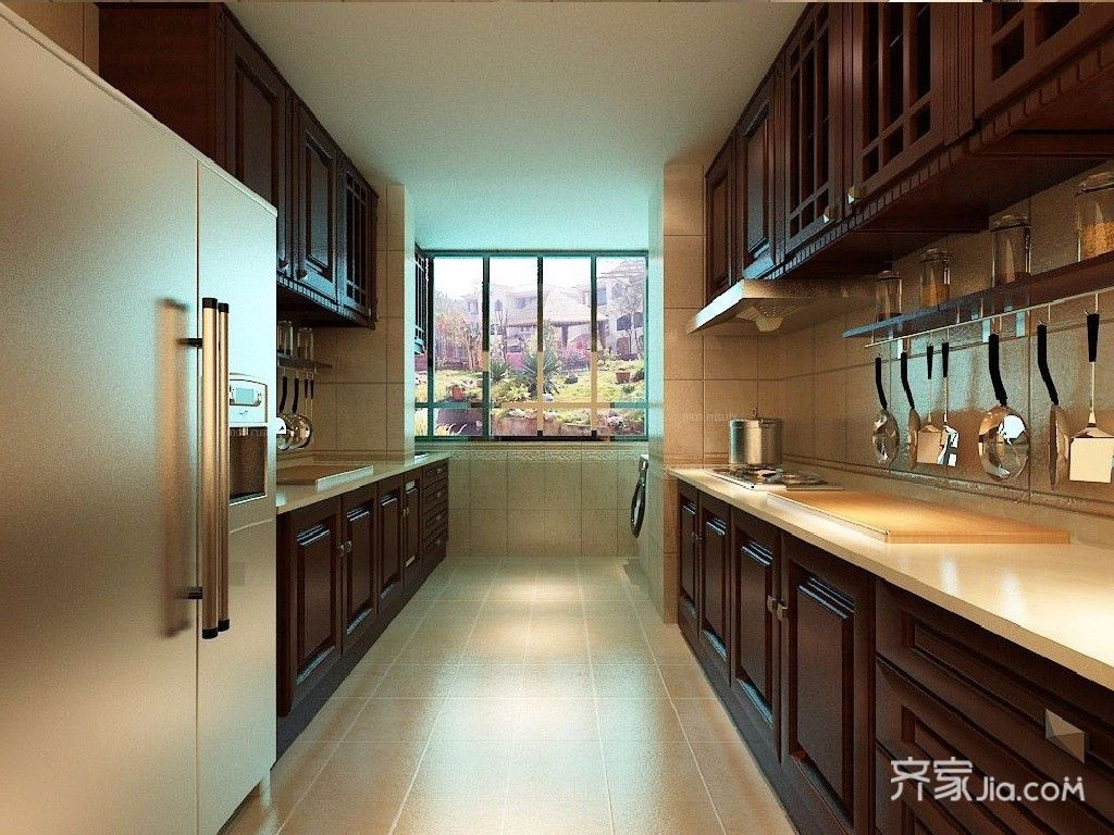 120㎡中式风格两居厨房装修效果图