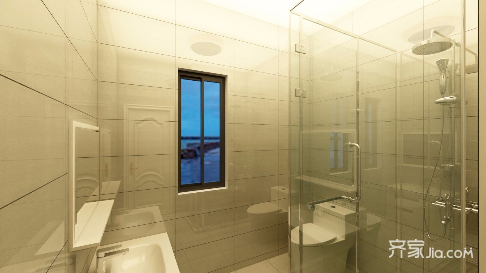 90㎡混搭风格二居卫生间装修效果图