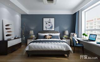 125㎡三居现代简约卧室背景墙装修效果图