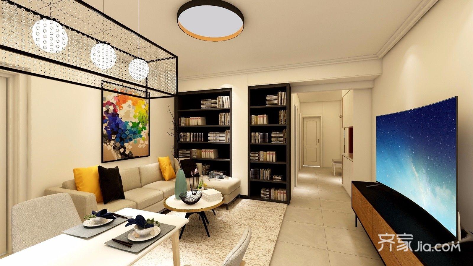 80平米简约风二居客厅装修效果图