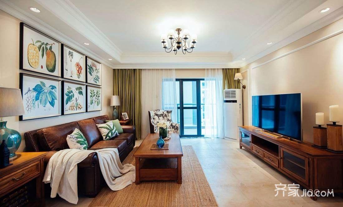 140平美式风格客厅装修设计效果图