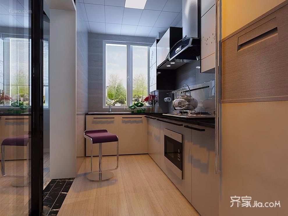 90平现代两居室厨房装修效果图