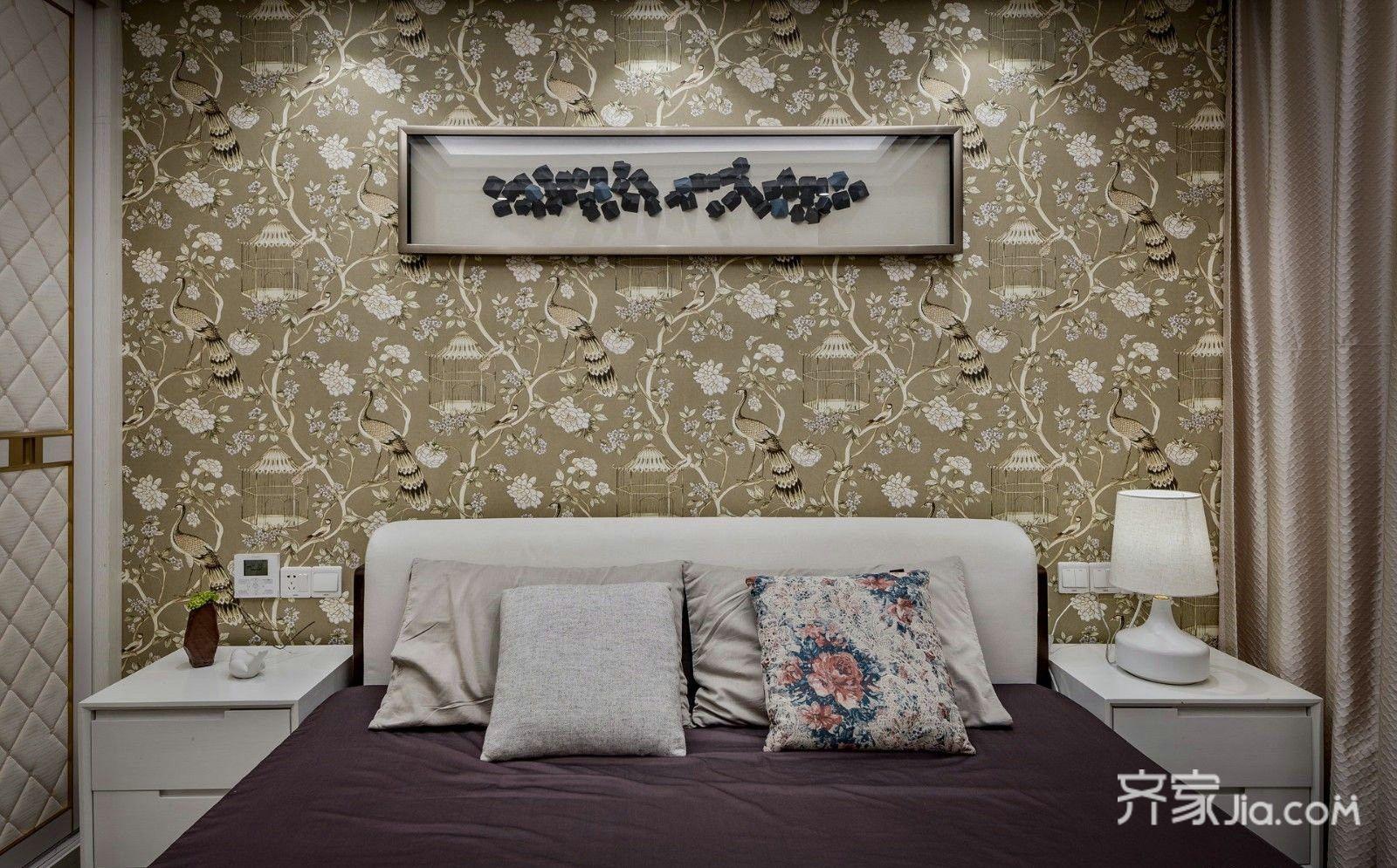 110㎡现代简约风三居装修床头背景墙效果图