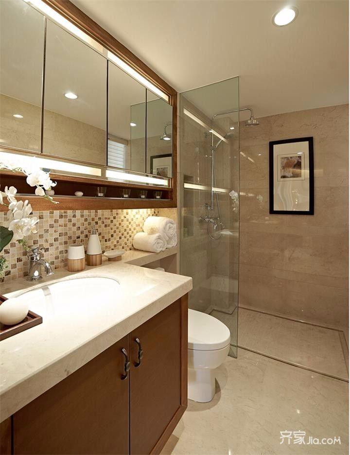 120平中式风格三居卫生间装修效果图