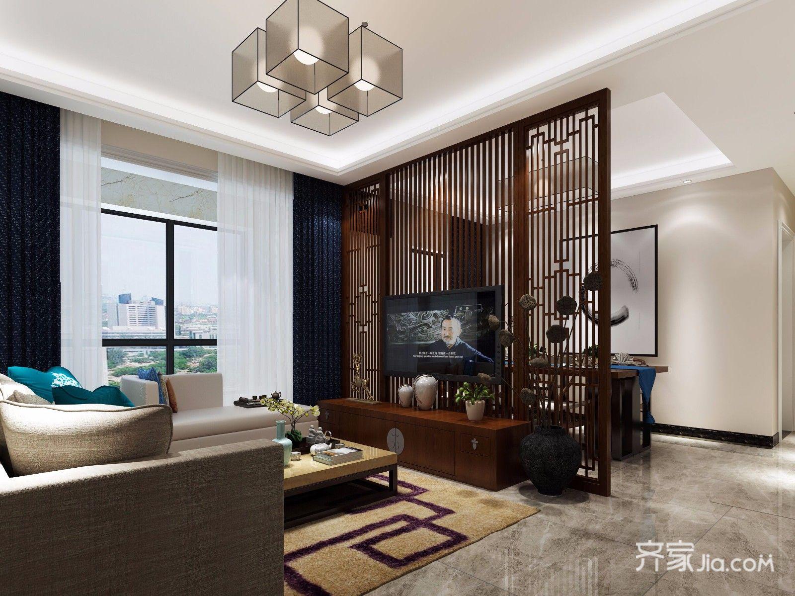 125平现代中式三居客厅装修效果图