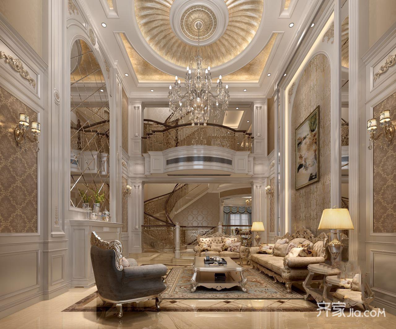 大户型豪华欧式别墅客厅装修效果图