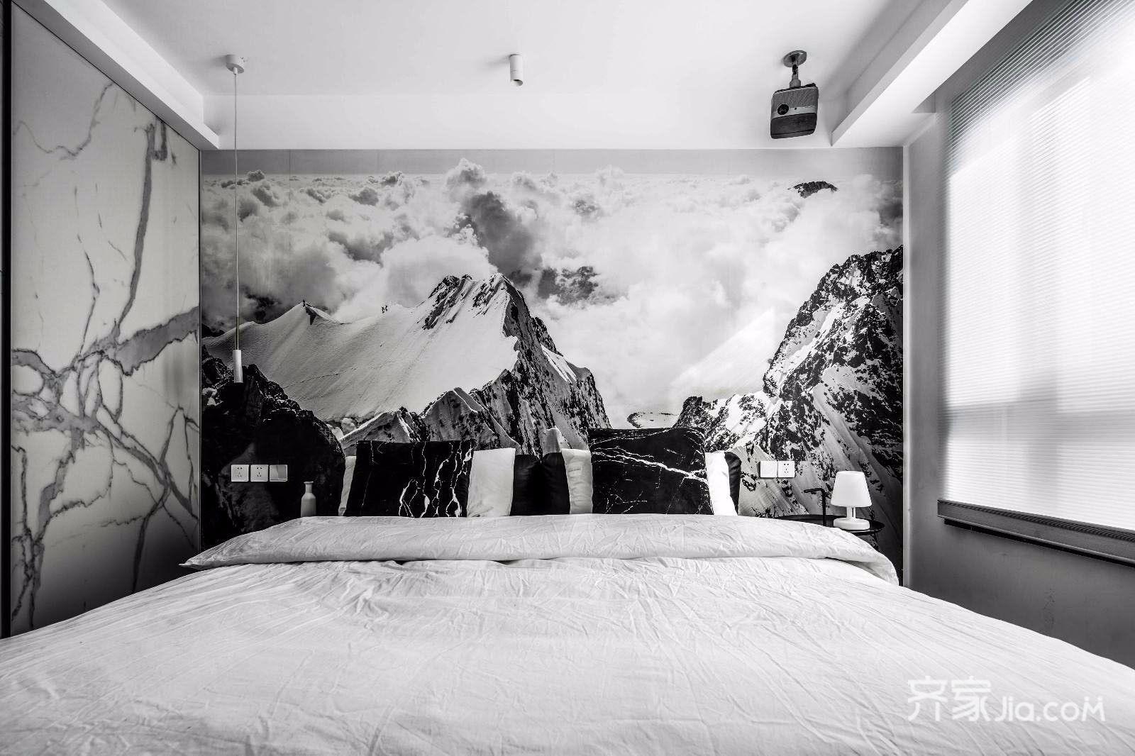 黑白现代简约风二居卧室装修效果图