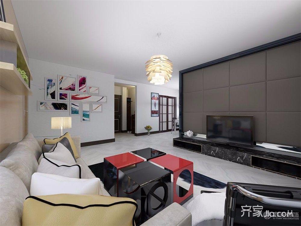 90㎡现代风格二居客厅装修效果图