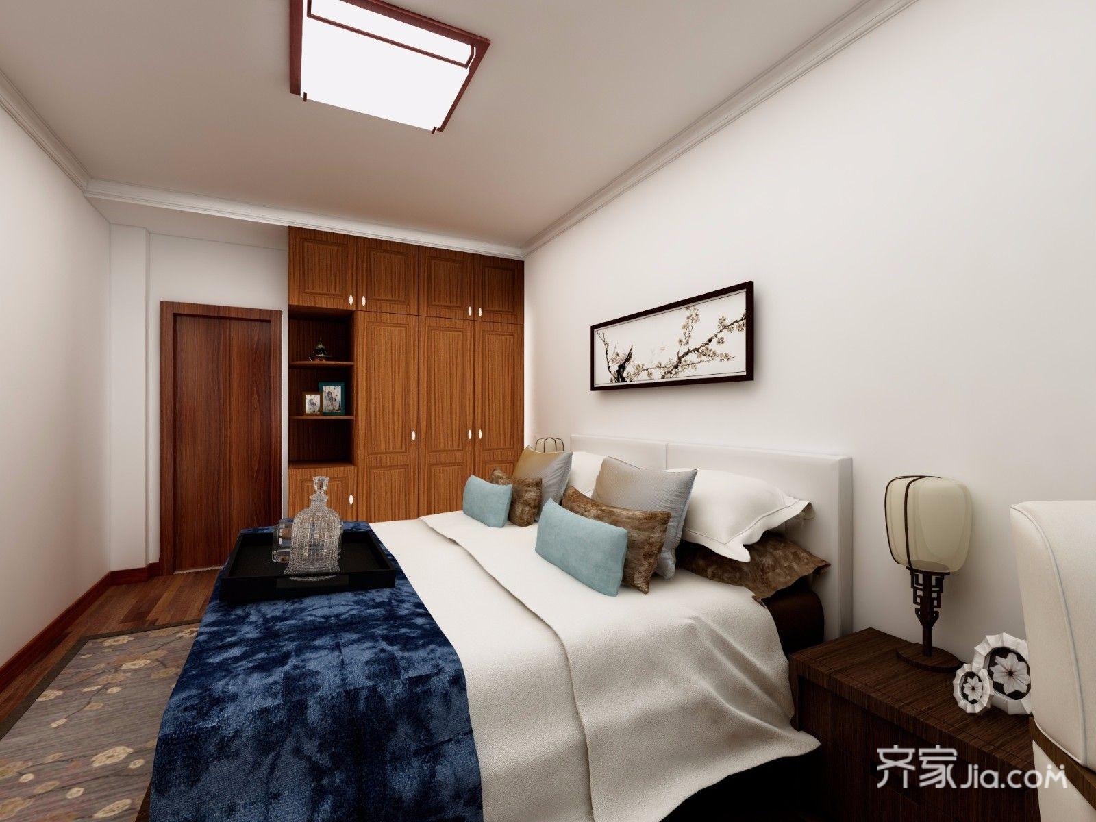 128平中式风格三居卧室装修效果图