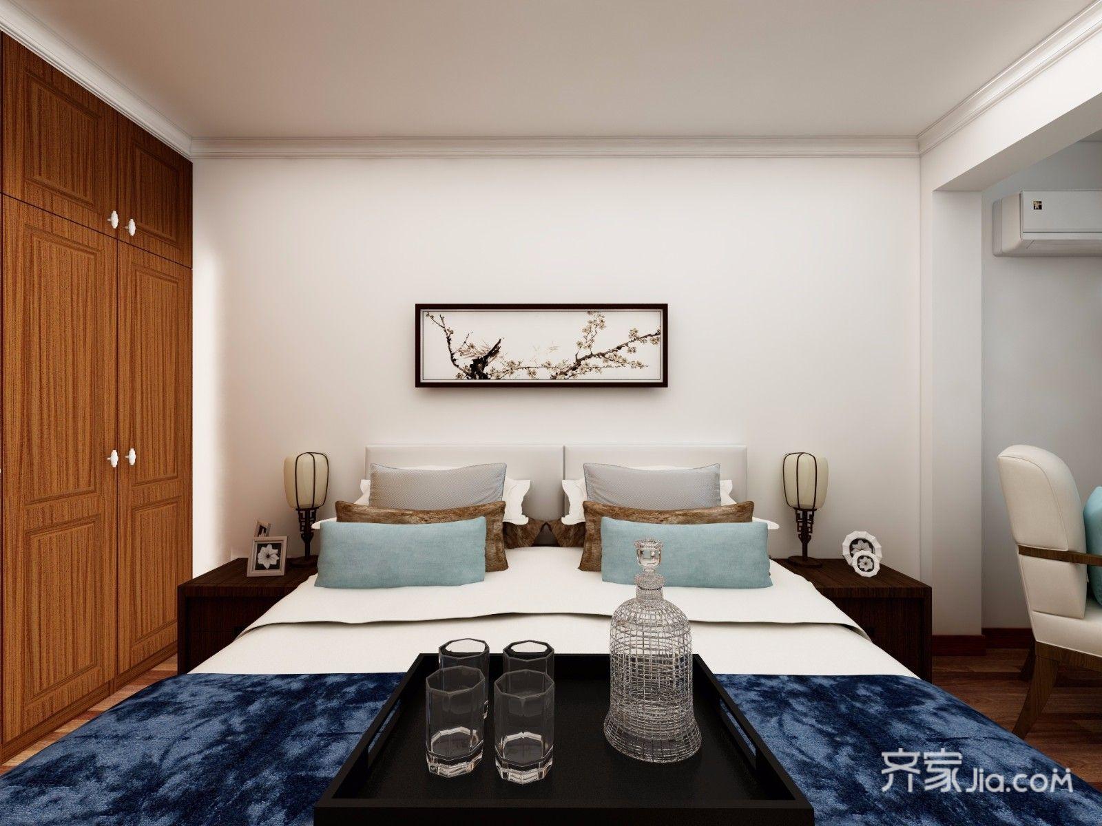128平中式风格三居卧室背景墙装修效果图