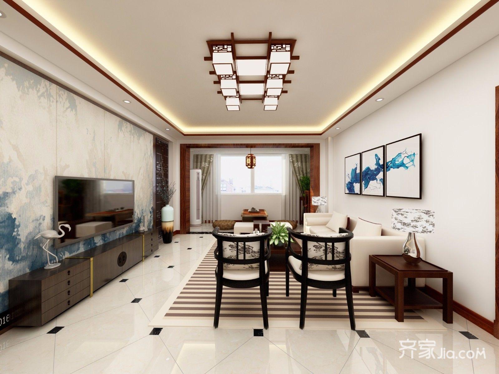 128平中式风格三居客厅装修效果图